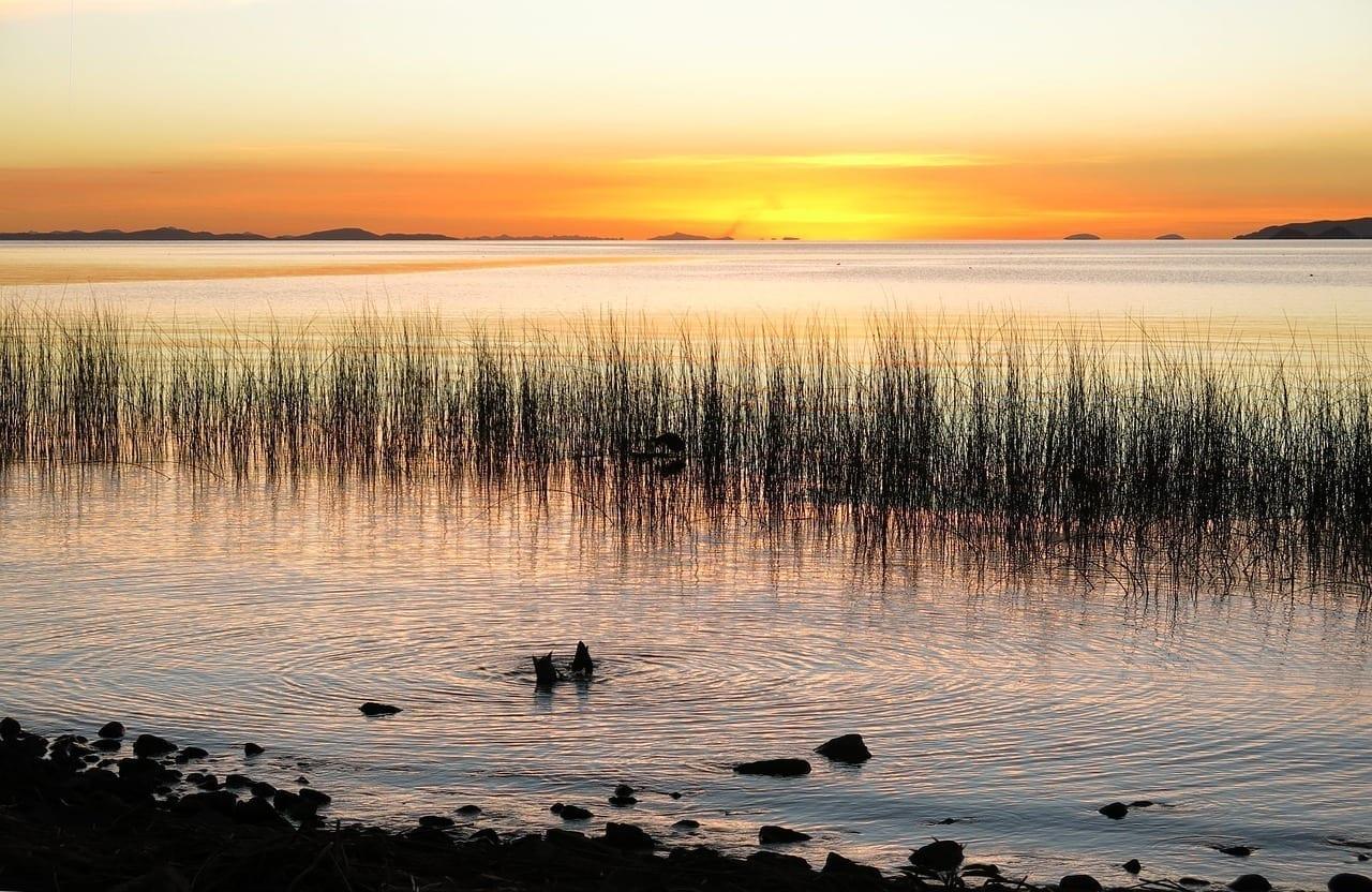 Abendstimmung Lago Lago Titicaca Perú