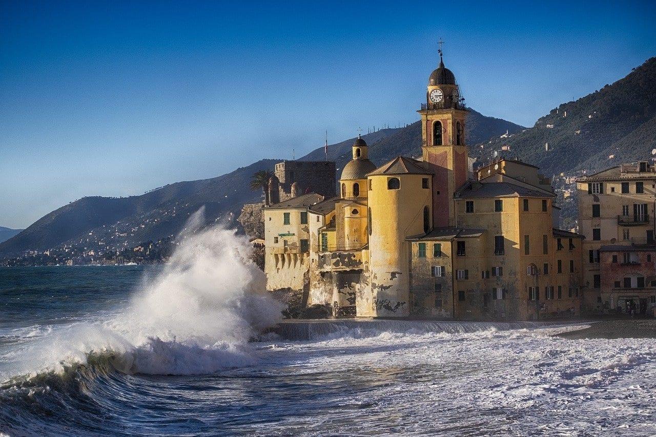 Camogli Tormenta De Mar Liguria Italia