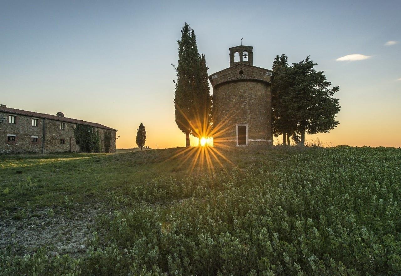 Campo Toscana Atardecer Italia