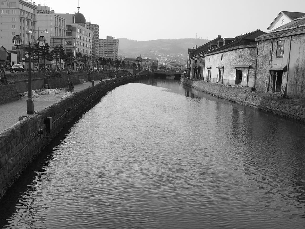 Canal Canal De Otaru Blanco Y Negro Japón