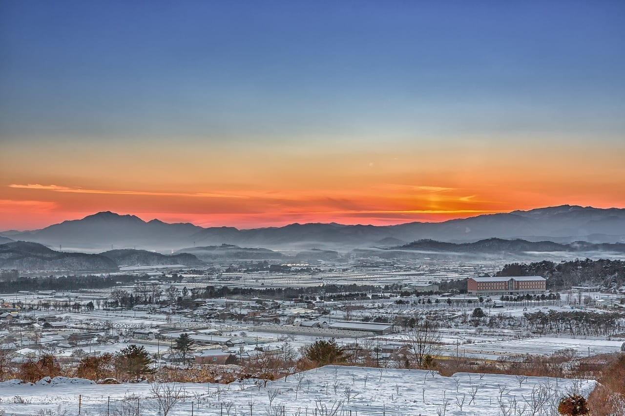 Chuncheon Niebla Resplandor Corea del Sur