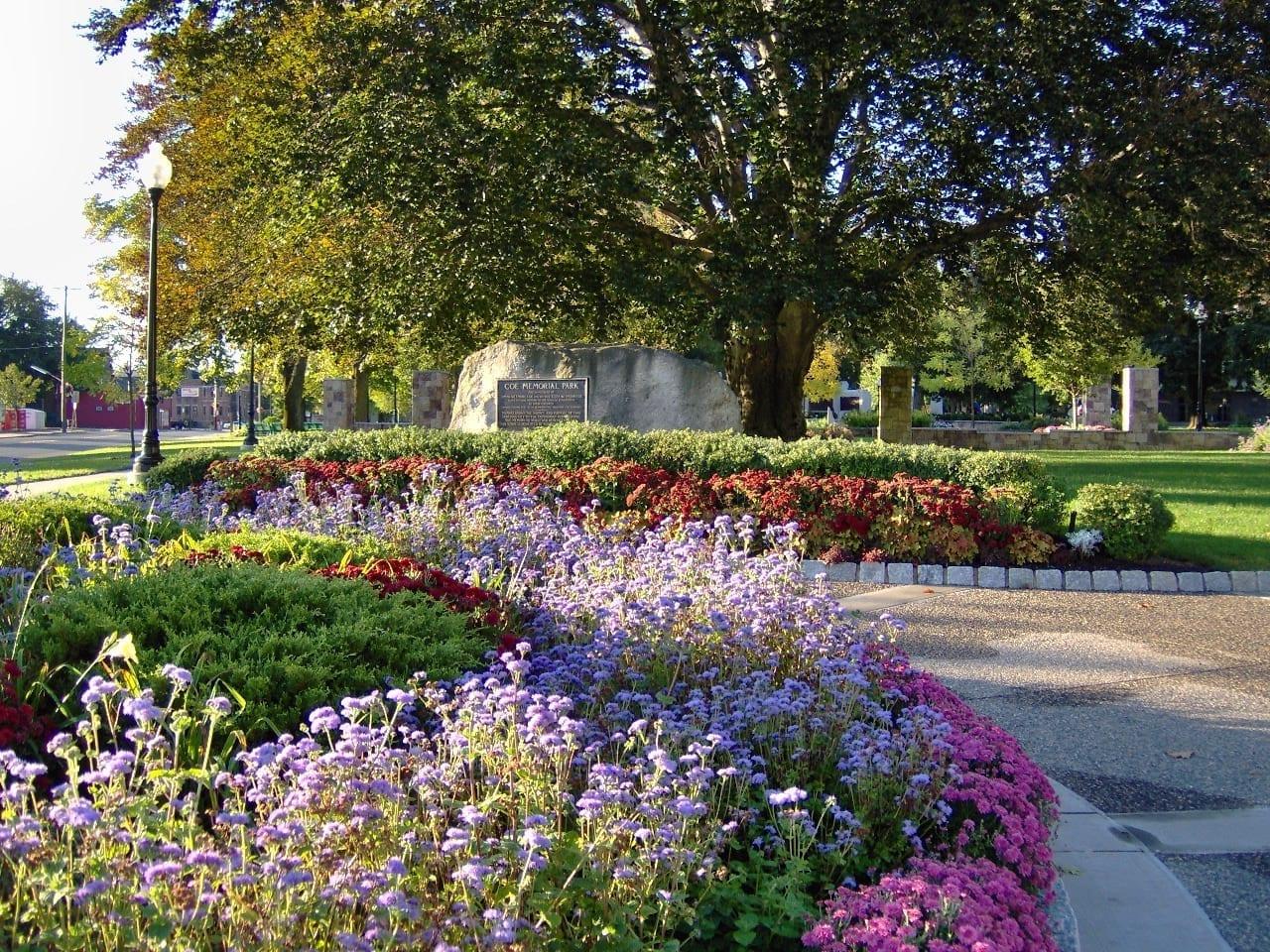 Color de otoño en el Parque Memorial de Coe Torrington CT Estados Unidos