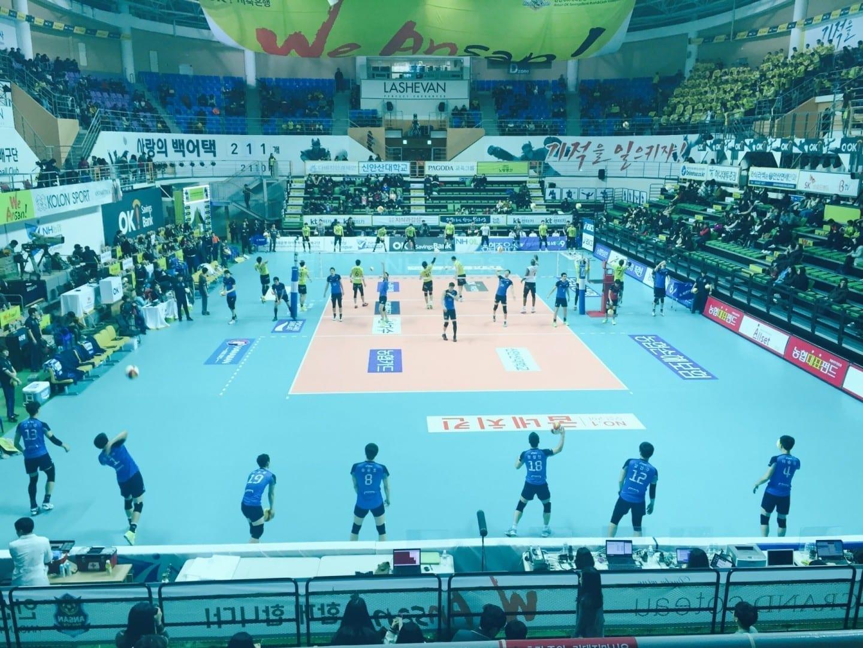Dentro del Estadio de Voleibol de Sangroksu Ansan Corea del Sur