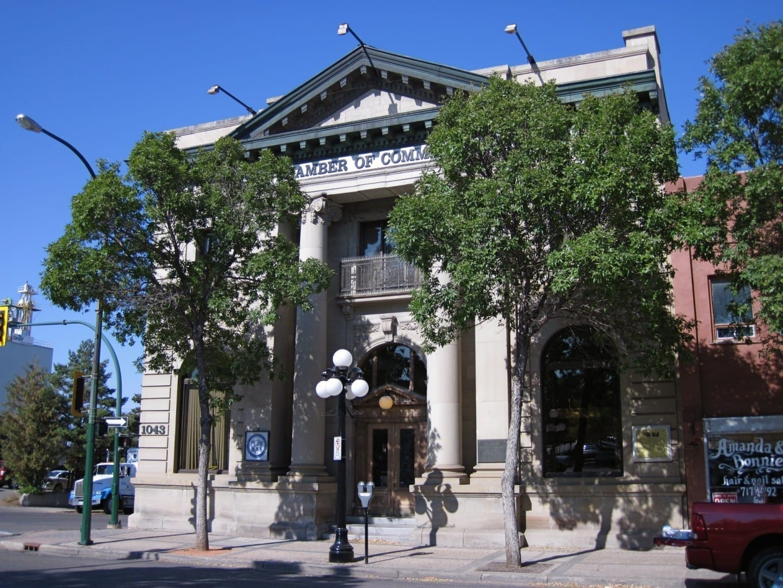El edificio del Merchants Bank en la Avenida Rosser, construido en 1907 Brandon Canadá