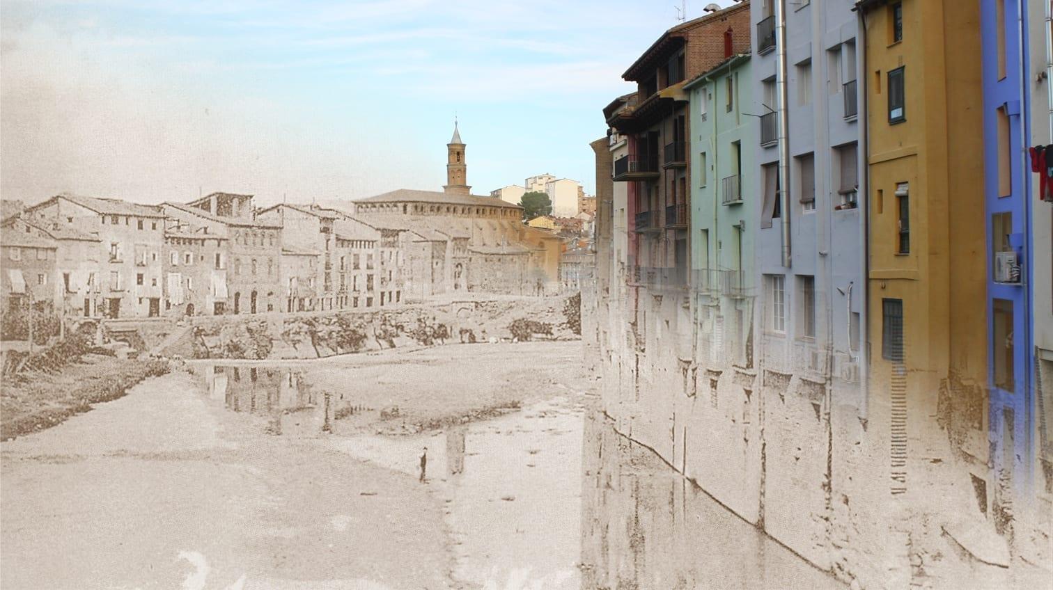 El río Vero en Barbastro, de 1930 a 2012 Barbastro España