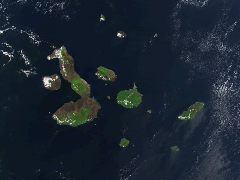 Fotografía de satélite de las Islas Galápagos, NASA Las Islas Galápagos Ecuador