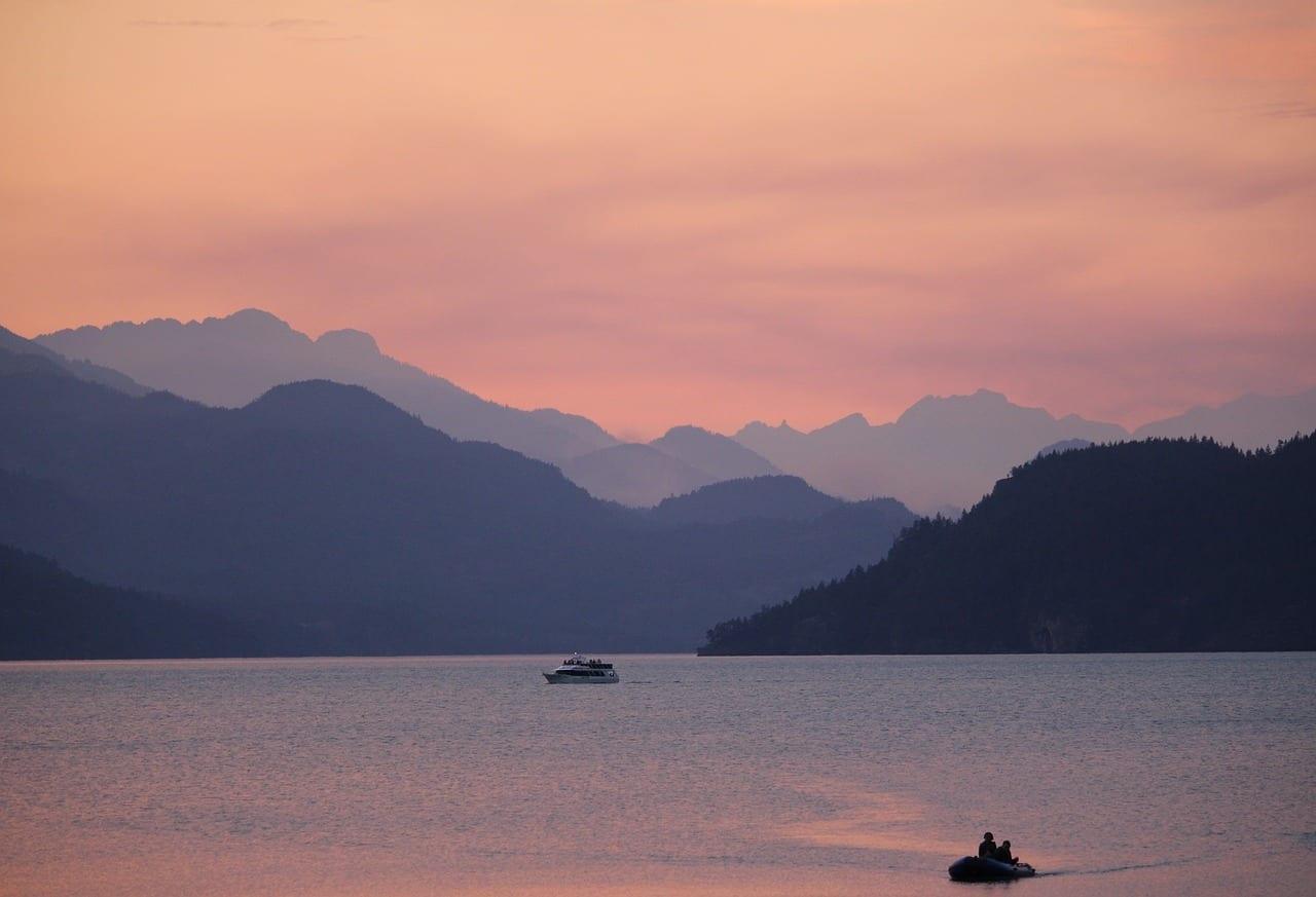 Harrison Hot Springs Columbia Británica Puesta De Sol Estados Unidos