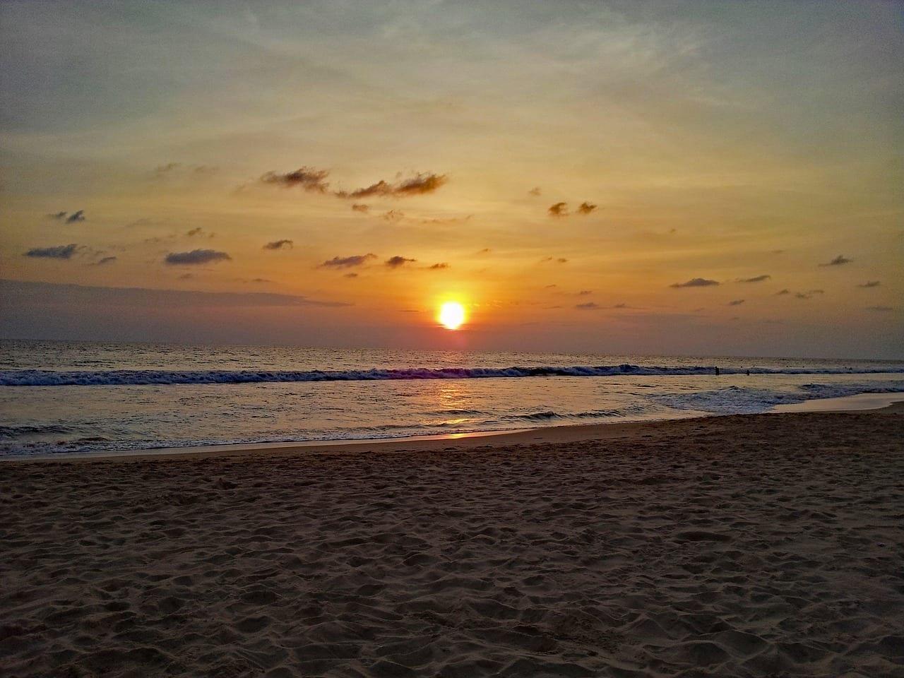 Hikkaduwa Sri Lanka Puesta Del Sol Sri Lanka