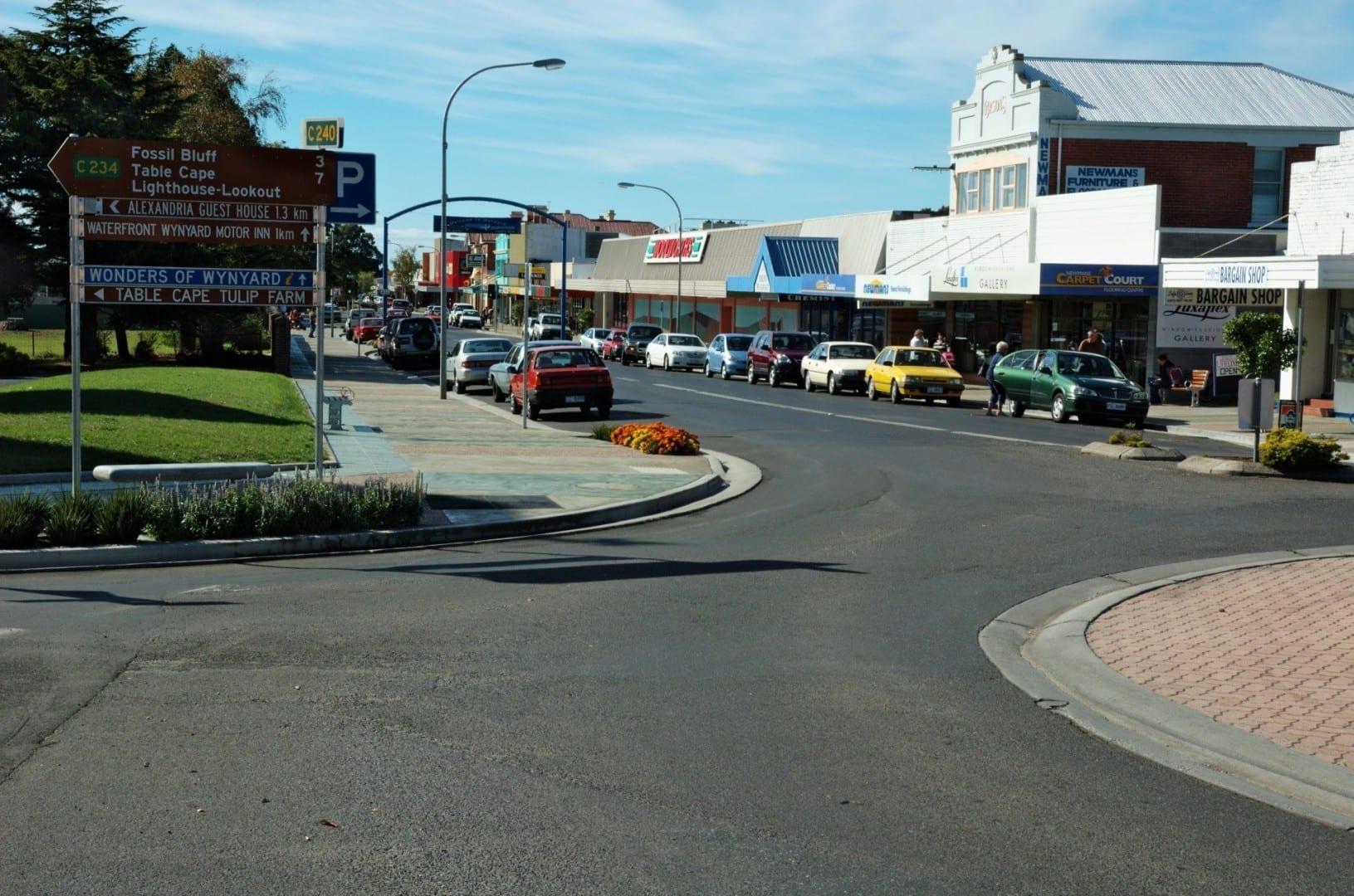 La calle Goldie, la principal calle comercial de Wynyard Wynyard Australia