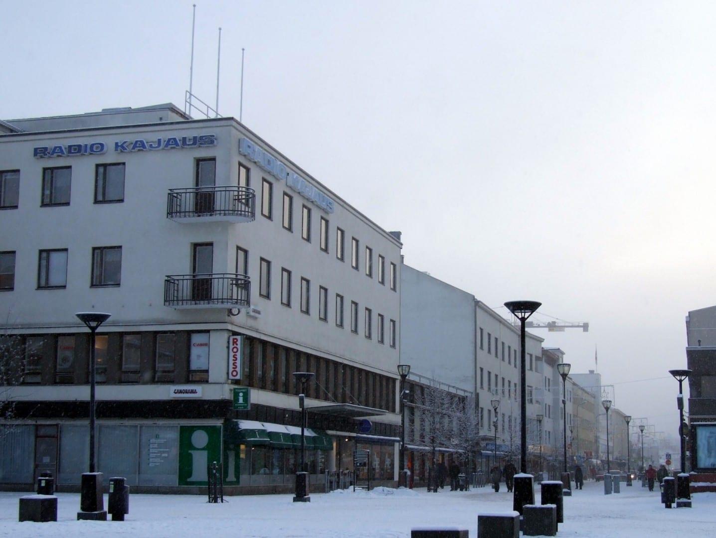 La calle principal de Kajaani en enero. Kajaani Finlandia