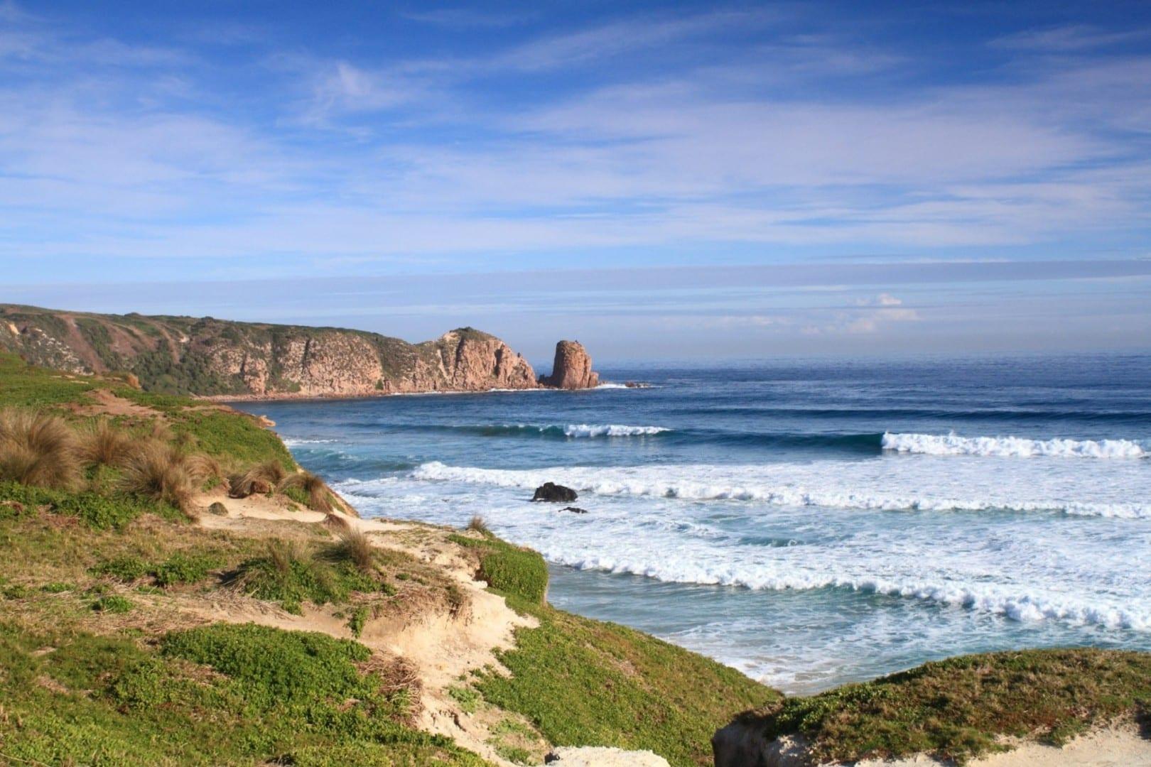 La escarpada costa del Cabo Woolamai. Phillip Island Australia