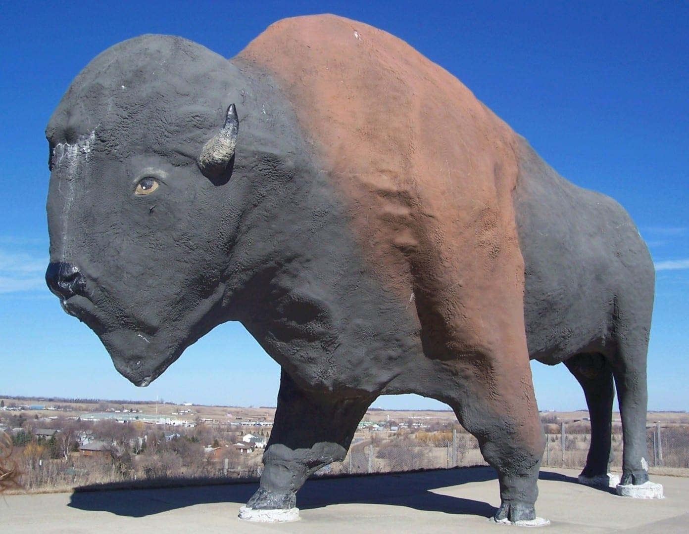 La estatua de búfalo más grande del mundo en Jamestown Jamestown ND Estados Unidos