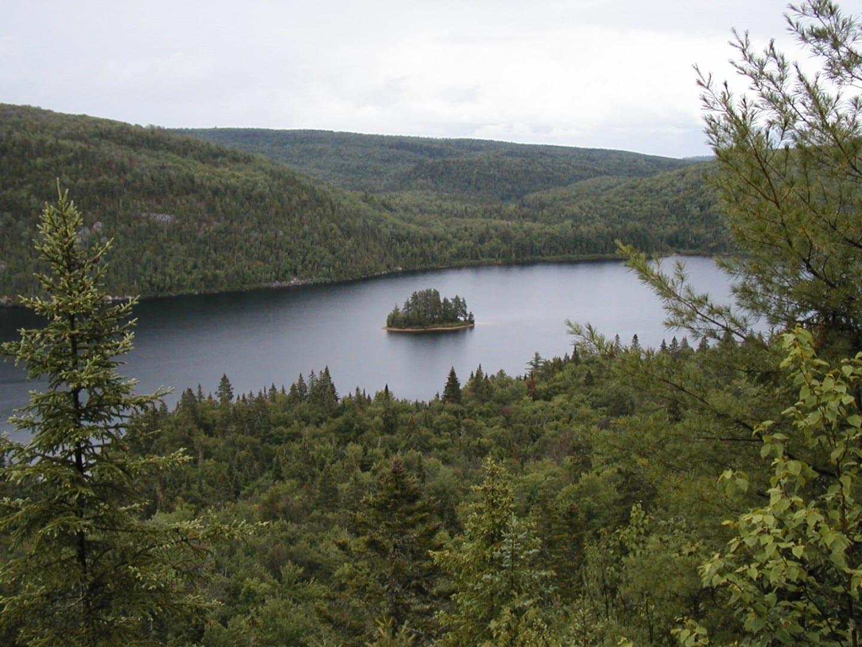 La Isla de los Pinos (Île aux pins) en el medio del Lago Wapizagonke La Mauricie Canadá