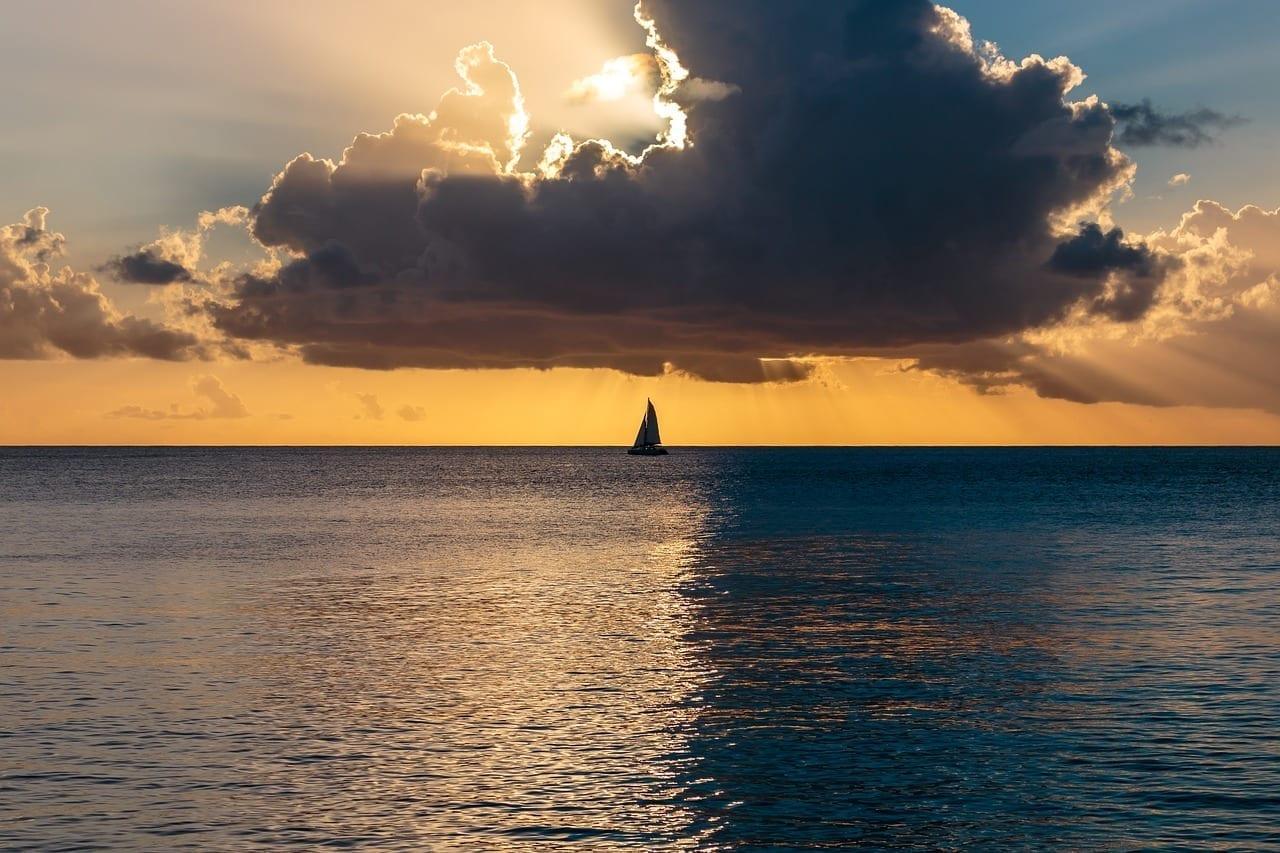 La Puesta Del Sol Del Océano Océano Atlántico Barbados Barbados