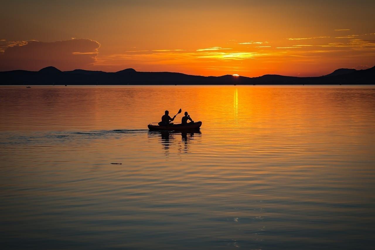 Lago Balaton Puesta Del Sol Lago Hungría