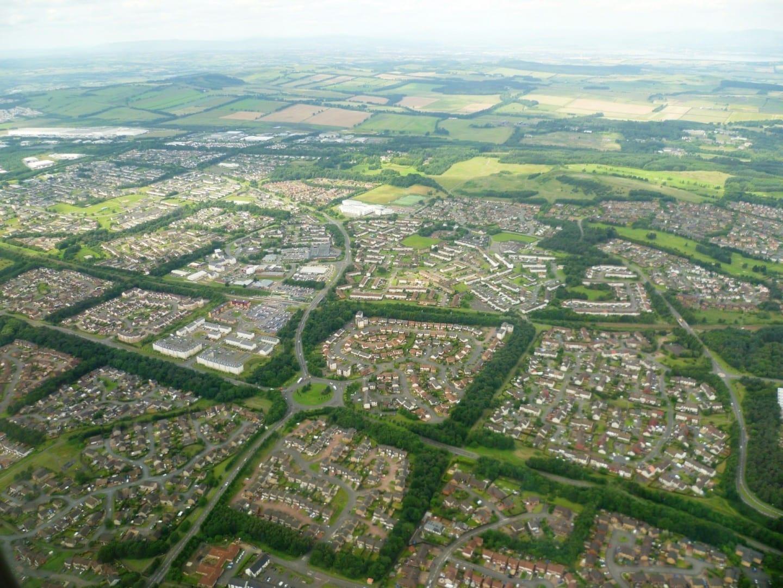 Livingston desde el aire Livingston Reino Unido