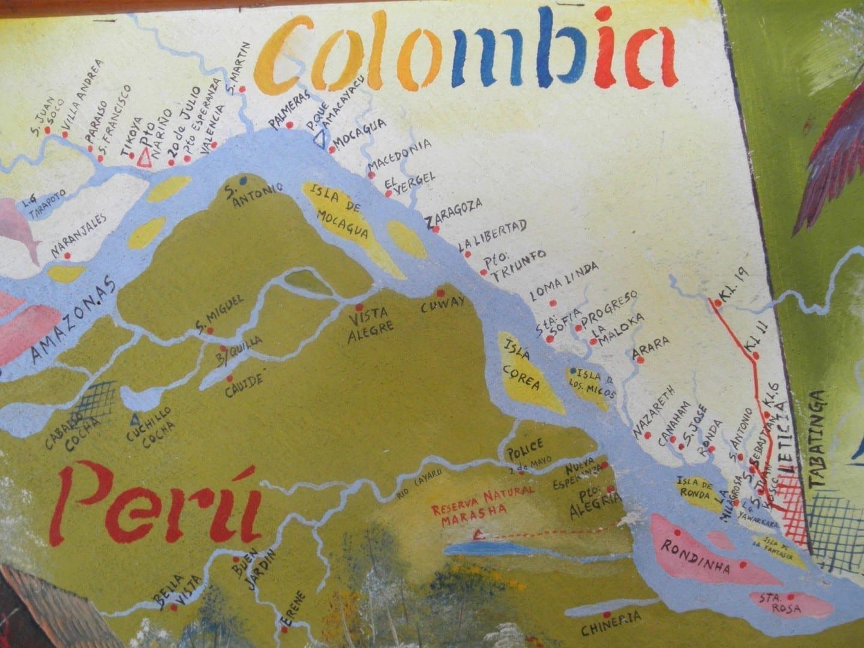 mapa de la región del Amazonas colombiano Leticia Colombia