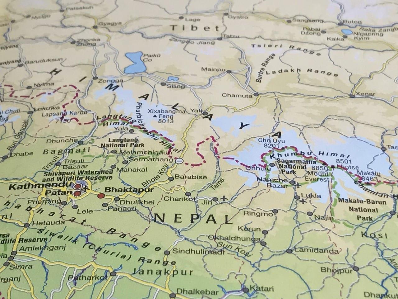 Mapa Himalaya Tíbet China