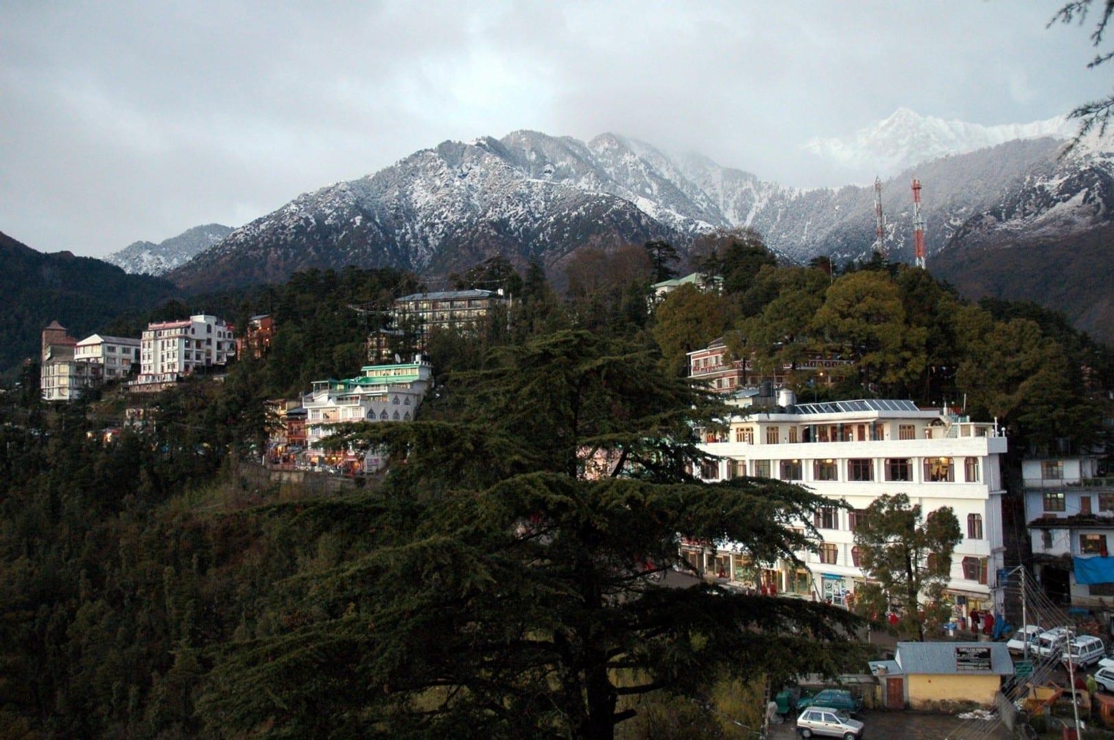 McLeod Ganj y los picos nevados de los Dhauladhars Dharamsala India