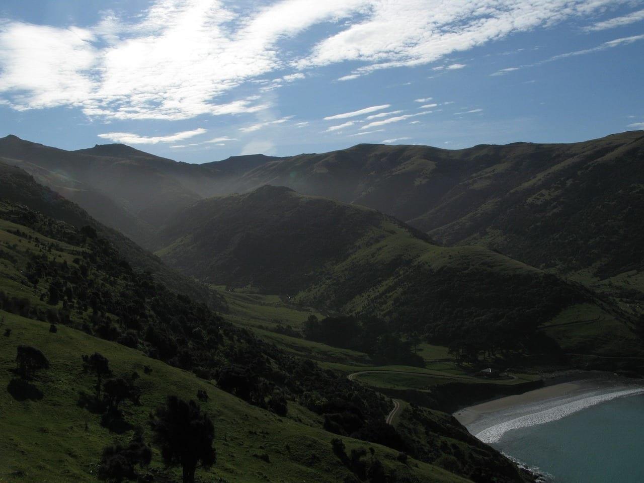 Paisaje Bahía De Pulgas Península Akaroa Nueva Zelanda