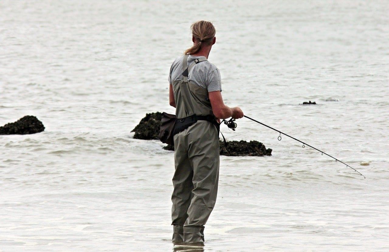 Pescador De Caña Peces Mar Del Norte México