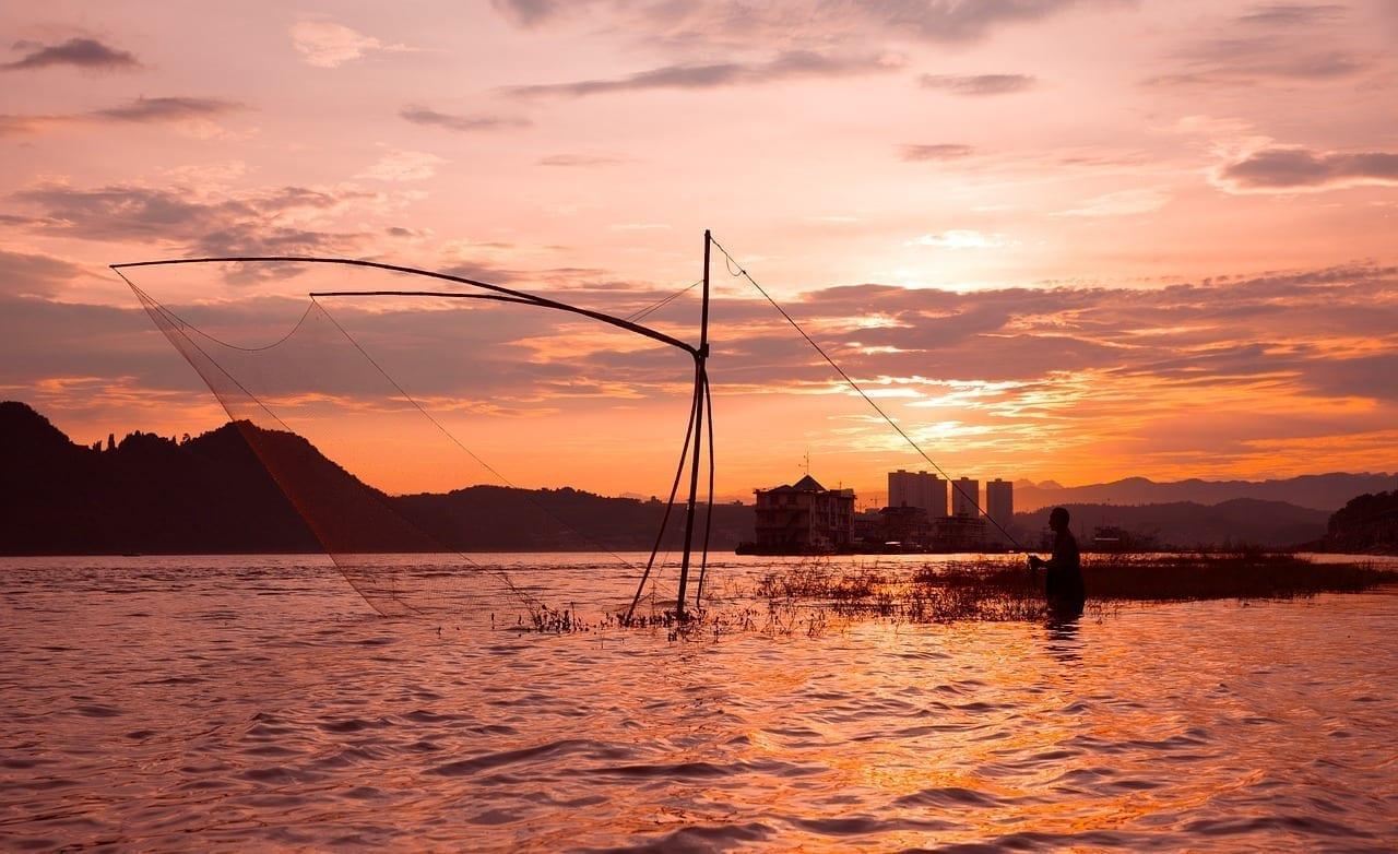 Puesta De Sol Los Pescadores Yichang China