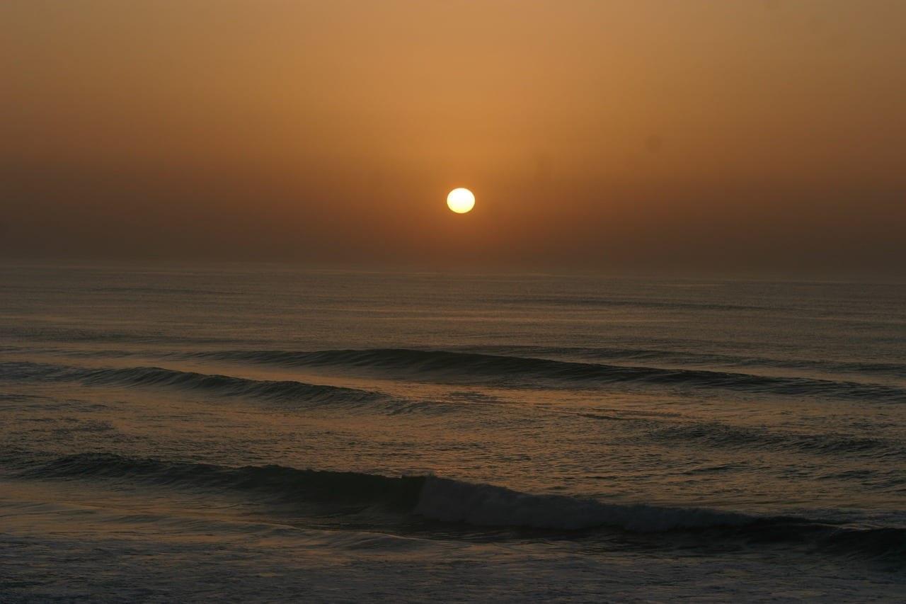 Puesta Del Sol Atlántico Mimizan Plage Francia