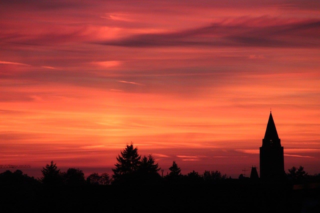 Puesta Del Sol Hanau Iglesia Alemania