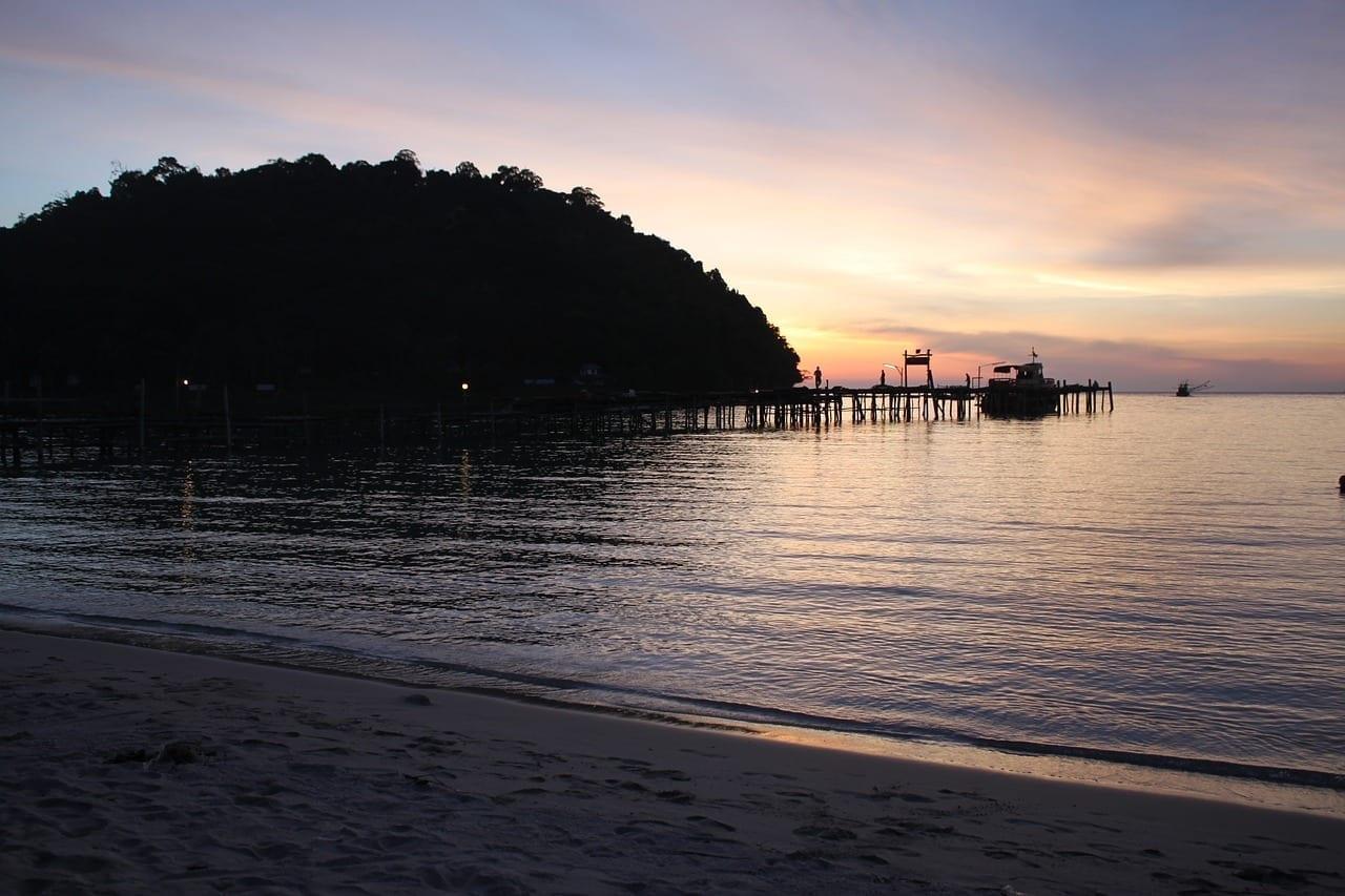 Puesta Del Sol La Isla De Koh Kood Playa Tailandia