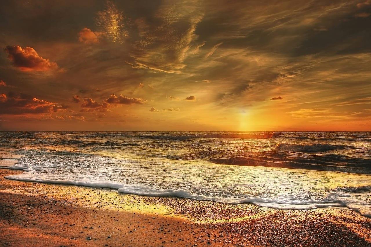 Puesta Del Sol Mar Del Norte Mar México