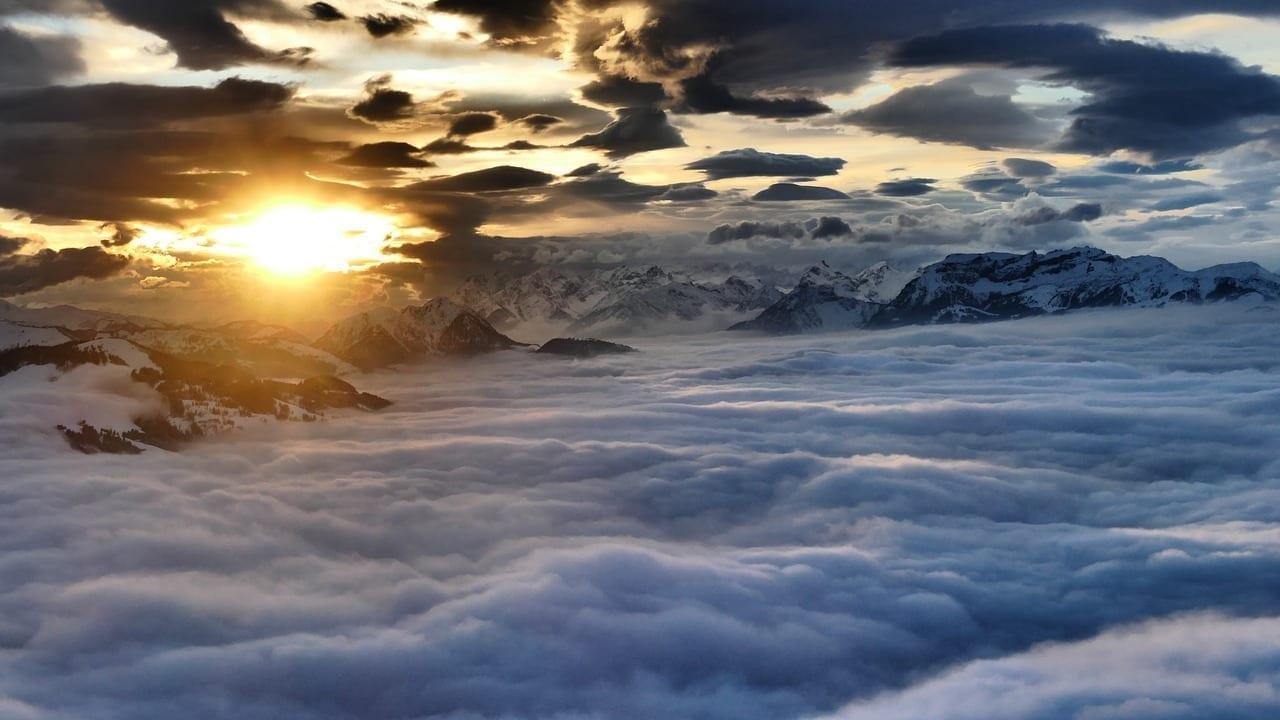 Salve Alta Austria Puesta Del Sol Humor De La Noche En La Montaña Italia