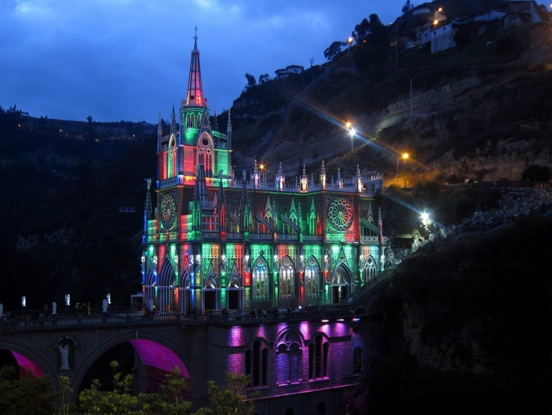 Santuario de las Lajas by night Ipiales Colombia