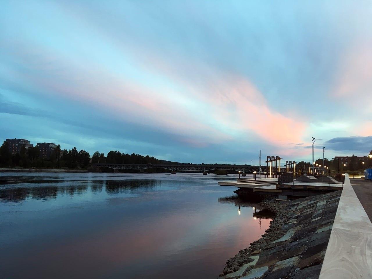 Skellefteå Puesta Del Sol Río Suecia