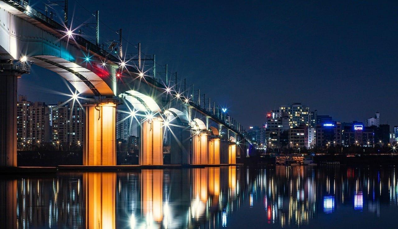 Tangshan Puente Del Ferrocarril Vista De Noche Puente China