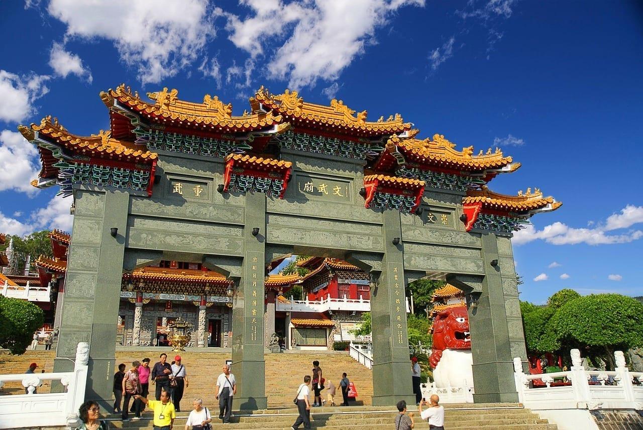 Templo De Wu Wen Lago Sun Moon Distrito De Nantou Taiwán