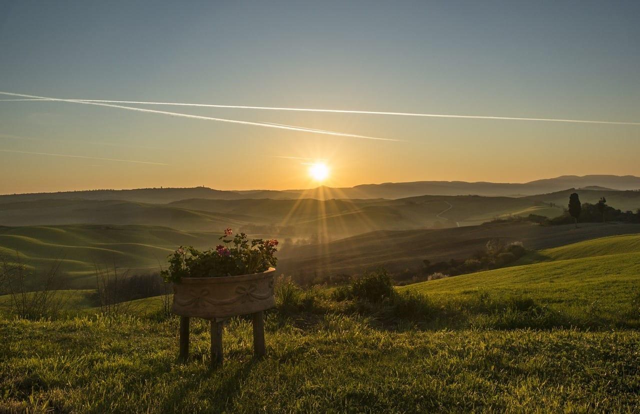 Toscana Paisaje Atardecer Italia