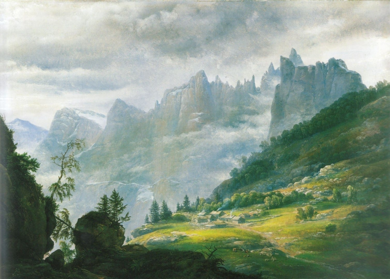 Trolltindene pintado por I.C. Dahl en 1823. Andalsnes Noruega