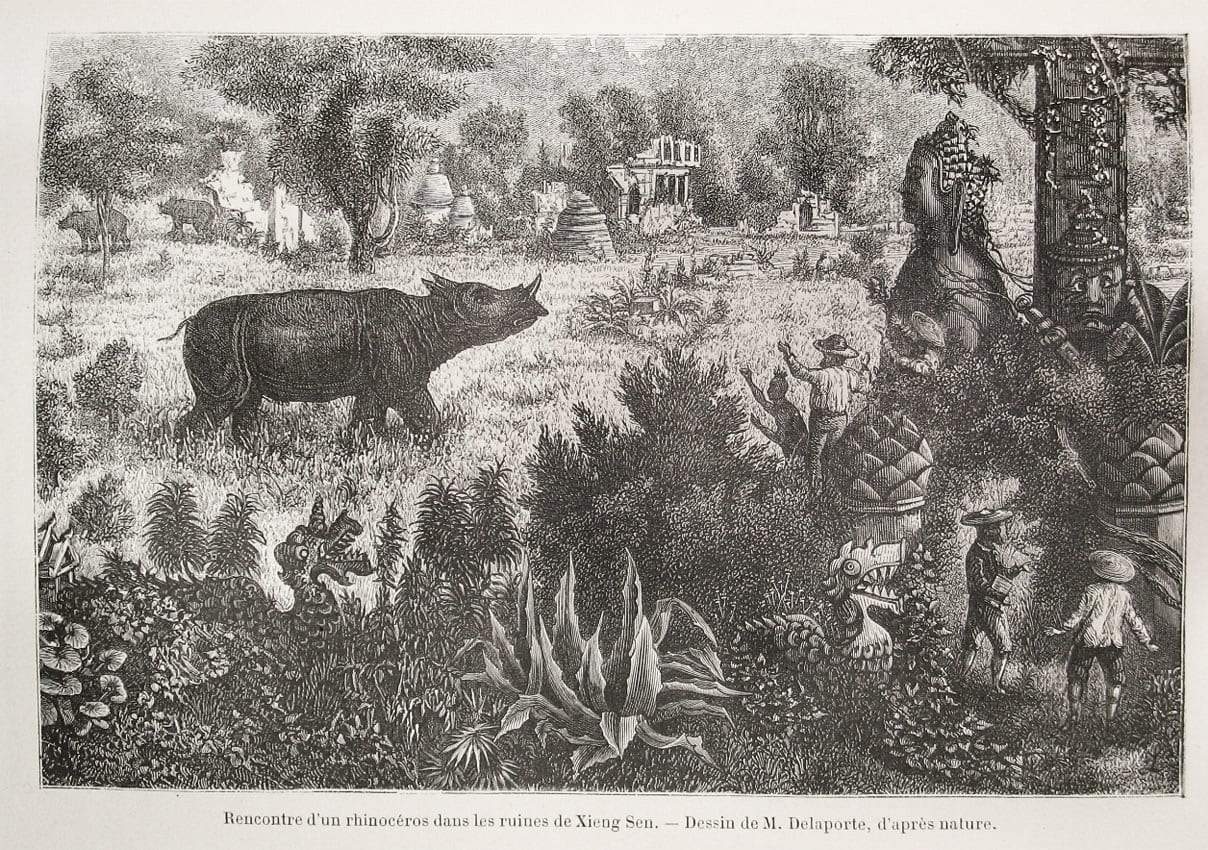 Un grabado de Chiang Saen como fue encontrado por Louis Delaporte durante sus exploraciones a lo largo del río Mekong en la década de 1880. Chiang Saen Tailandia