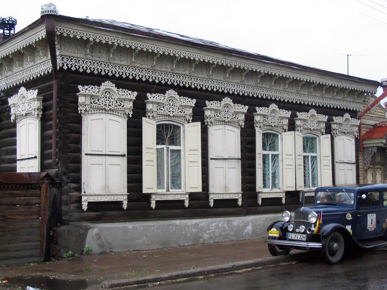 Una bonita casa de madera en la parte antigua de Ulan-Ude Ulan-Ude Rusia