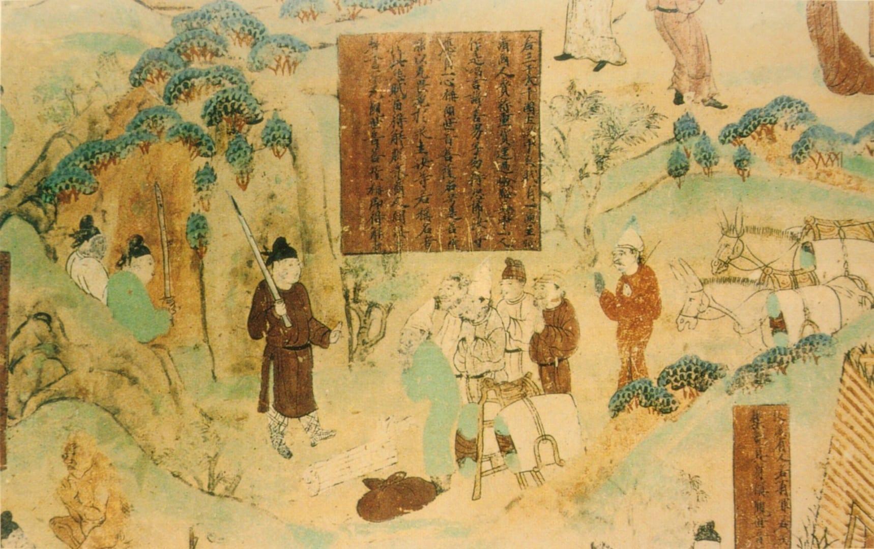 Una pintura de los comerciantes de la Dinastía Tang, las Cuevas de los Mil Budas de Bezeklik Turfán China