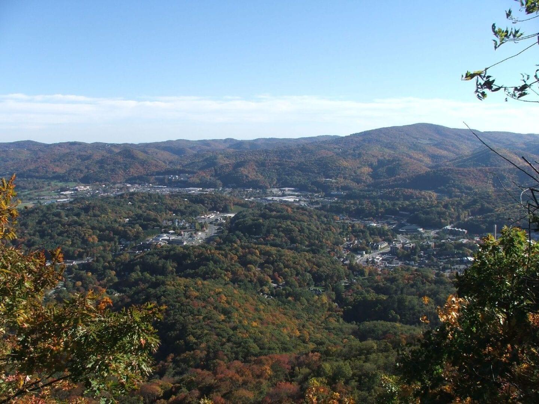 Vista aérea del centro de Boone. Boone Estados Unidos