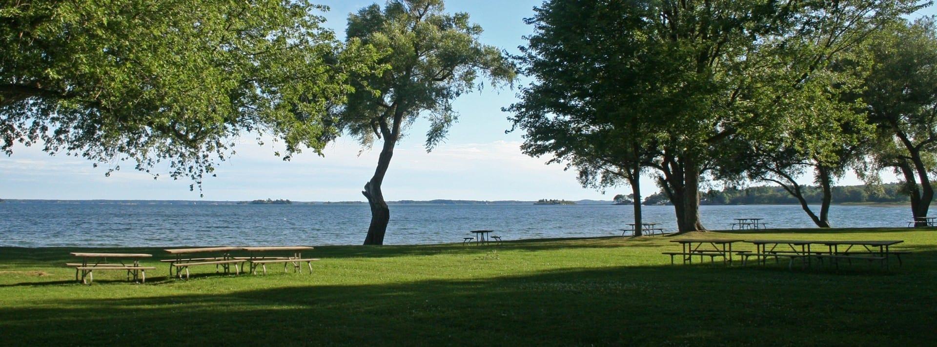 Vista de la costa desde la bahía de Brown situada en frente del municipio de Yonge. Thousand Islands Canadá