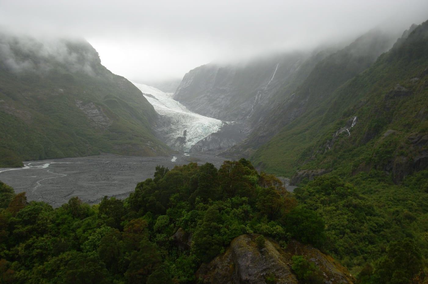 Vista del glaciar desde arriba en 2009 Franz Josef Nueva Zelanda