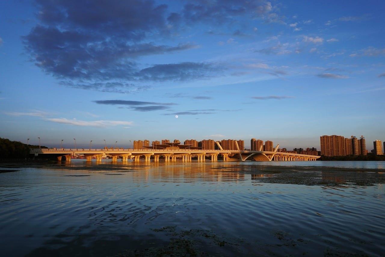 Wuxi Puente Puesta De Sol China